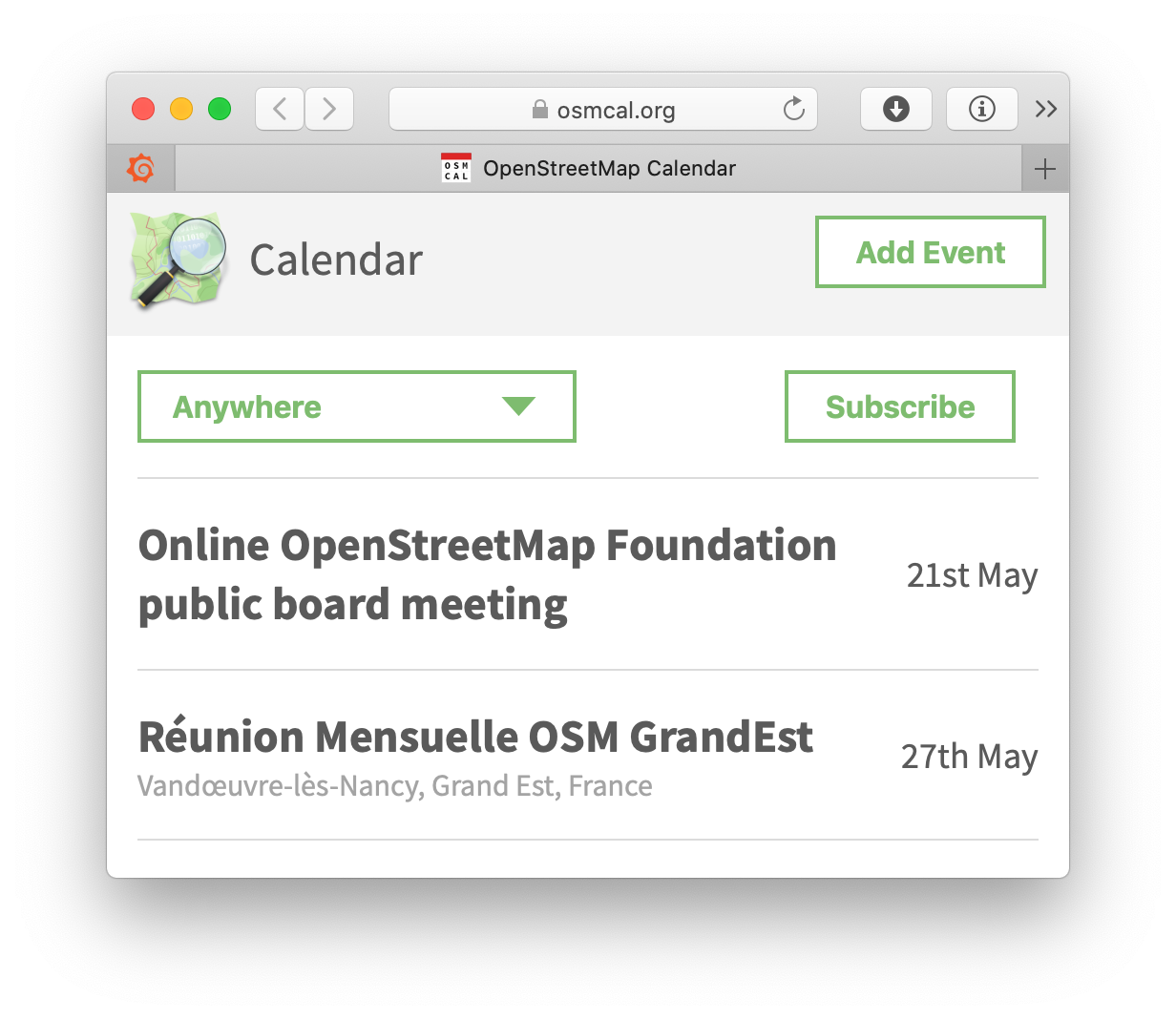 Screenshot of osmcal
